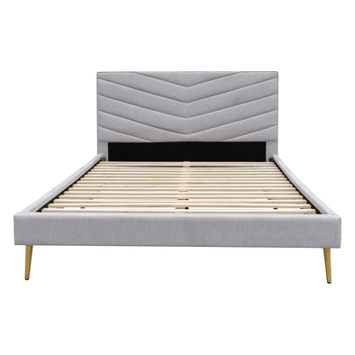 Lexi King Fabric Bed - Stone Linen - Warehouse Furniture Clearance