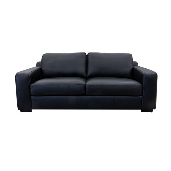 Lola Three Seater - Black Leather - Warehouse Furniture Clearance