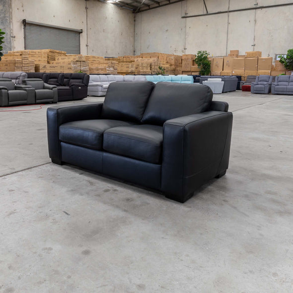 Lola Two Seater - Black Leather - Warehouse Furniture Clearance