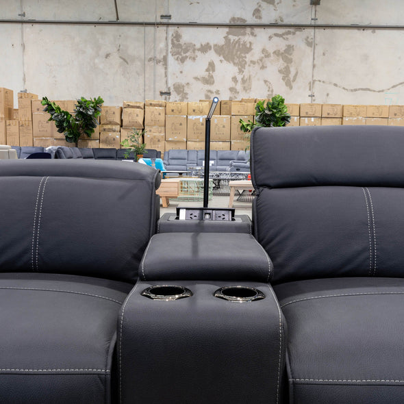 Madrid Electric Three Seater Recliner Lounge - Jet - Warehouse Furniture Clearance