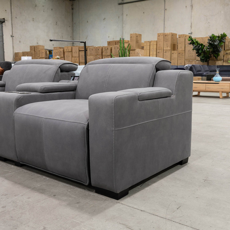 Madrid Electric Two Seater Recliner Lounge - Ash - Warehouse Furniture Clearance
