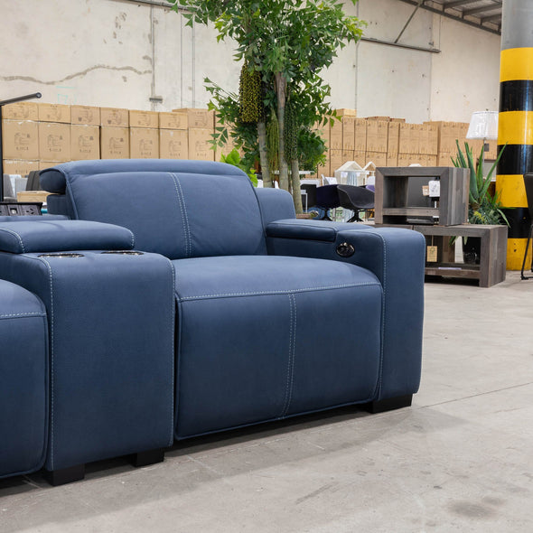 Madrid Electric Two Seater Recliner Lounge - Navy - Warehouse Furniture Clearance