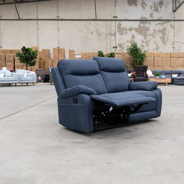 Maine Two Seat Recliner - Navy - Warehouse Furniture Clearance