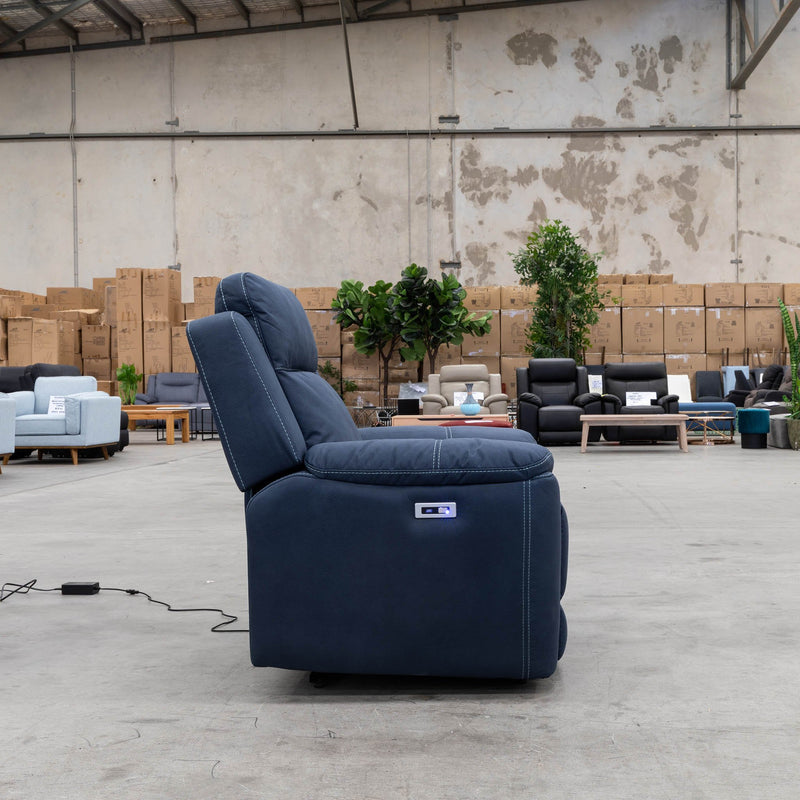 Marco Electric Recliner - Navy - Warehouse Furniture Clearance