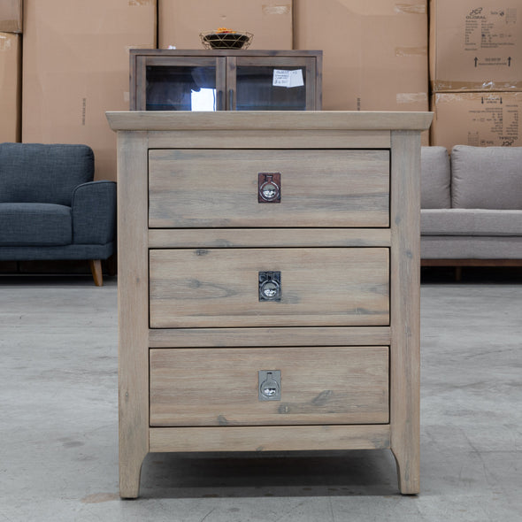 Mexico Three Drawer Bedside - LBSC - Warehouse Furniture Clearance
