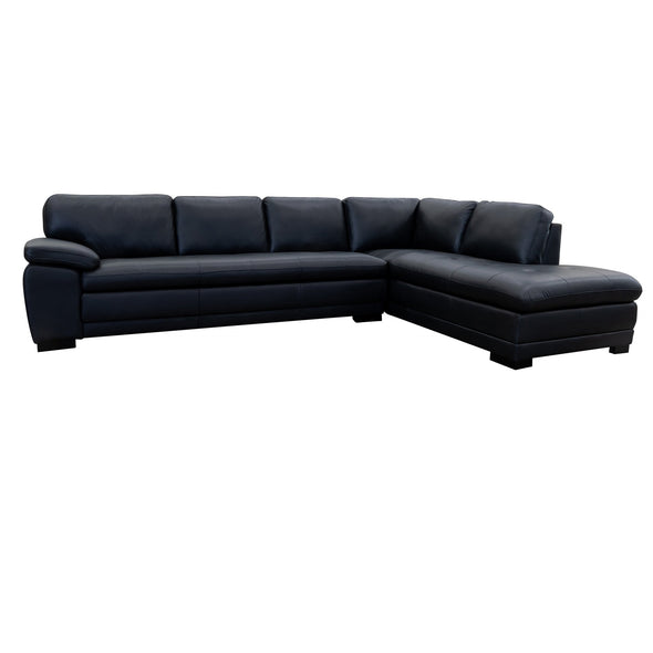 Mila Chaise Lounge - Black Leather - Warehouse Furniture Clearance