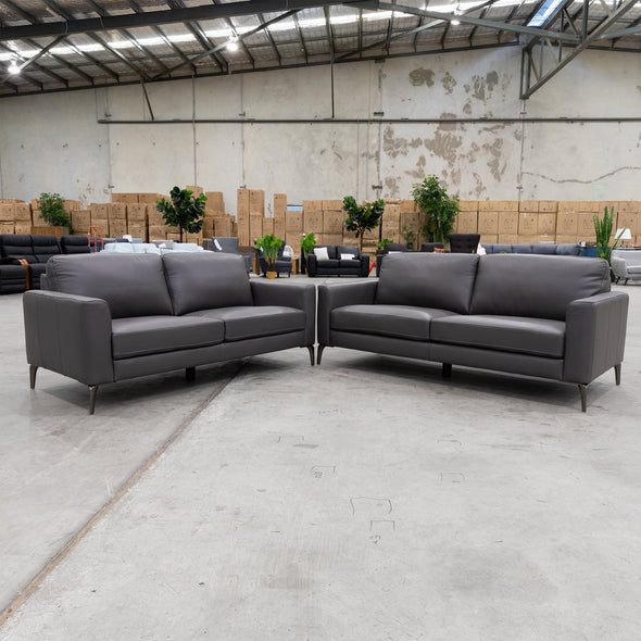 Moran Leather Two Seater - Graphite - Warehouse Furniture Clearance