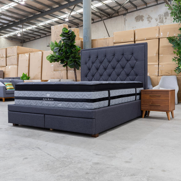 Nora King Fabric Bed - Mid Grey - Warehouse Furniture Clearance
