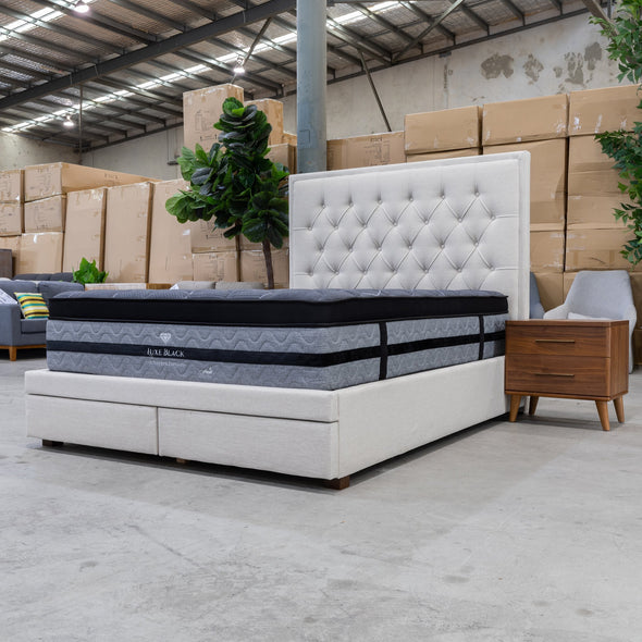 Nora King Fabric Bed - Oat - Warehouse Furniture Clearance