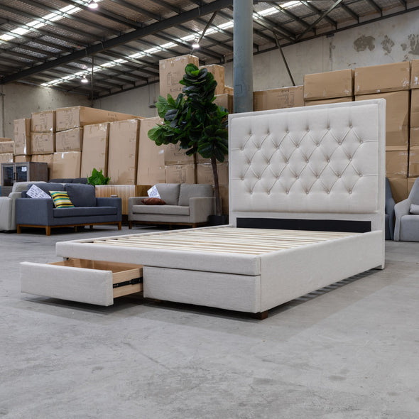 Nora Queen Fabric Bed - Oat - Warehouse Furniture Clearance