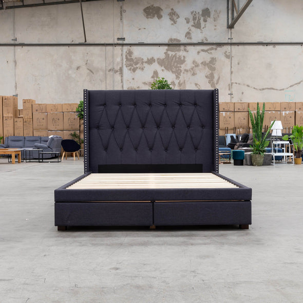Olivia Double Fabric Bed - Dark Grey - Warehouse Furniture Clearance