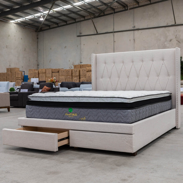 Olivia Double Fabric Bed - Oat White - Warehouse Furniture Clearance