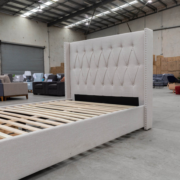 Olivia Queen Fabric Bed - Oat White - Warehouse Furniture Clearance