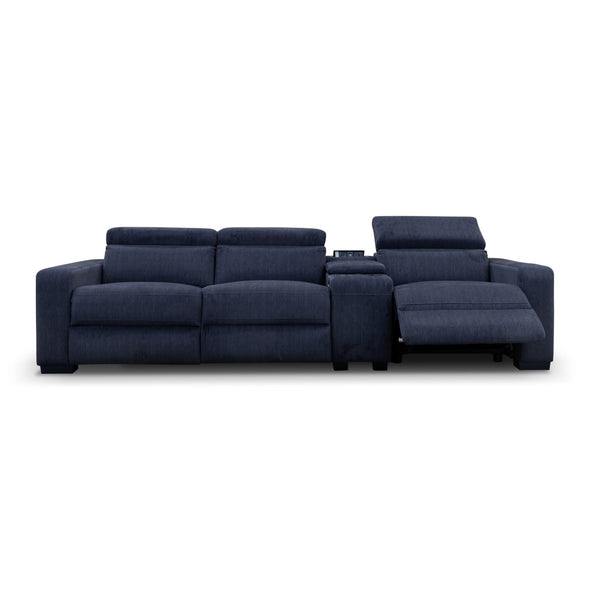 Omnia Electric Reclining Three Seater Theatre Lounge - Ebony Velvet - Warehouse Furniture Clearance