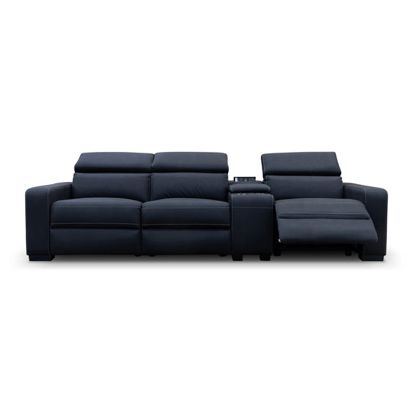Omnia Electric Reclining Three Seater Theatre Lounge - Jet - Warehouse Furniture Clearance
