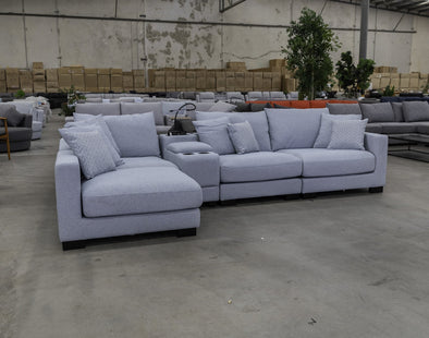 Paige Reversible Chaise Lounge - Sky - Warehouse Furniture Clearance
