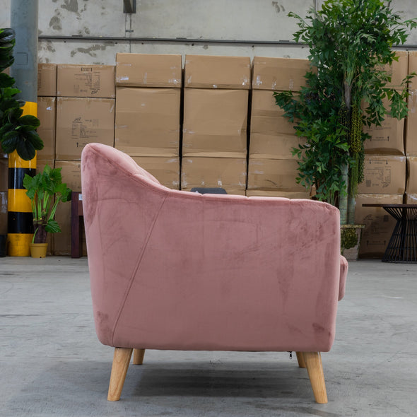 Pearl Accent Chair - Blush Pink Future Velvet - Warehouse Furniture Clearance