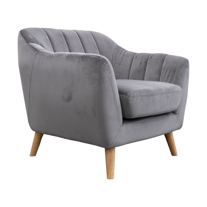 Pearl Accent Chair - Decker Light Grey Velvet - Warehouse Furniture Clearance
