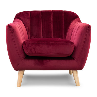 Pearl Accent Chair - Future Maroon Velvet - Warehouse Furniture Clearance