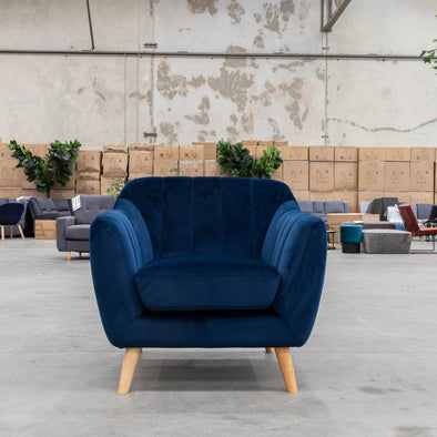 Pearl Accent Chair - Future Navy Velvet - Warehouse Furniture Clearance