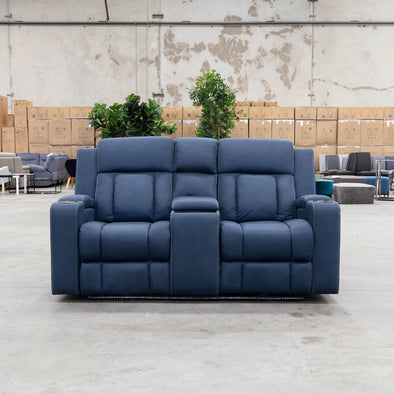Remi 2 Seat Electric Recliner Theatre - Navy - Warehouse Furniture Clearance