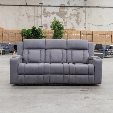 Remi 3 Seater Electric Recliner Lounge - Ash - Warehouse Furniture Clearance