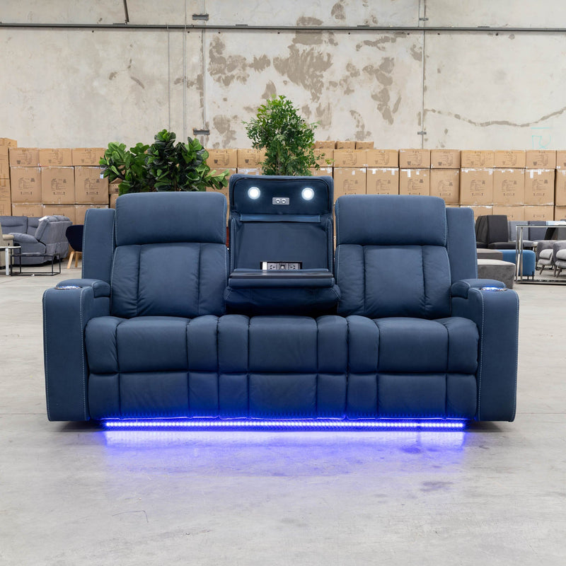 Remi 3 Seater Electric Recliner Lounge - Navy - Warehouse Furniture Clearance