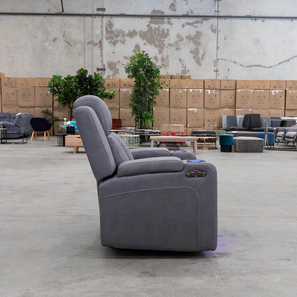 Remi Electric Recliner - Ash - Warehouse Furniture Clearance