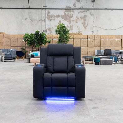 Remi Electric Recliner - Jet - Warehouse Furniture Clearance
