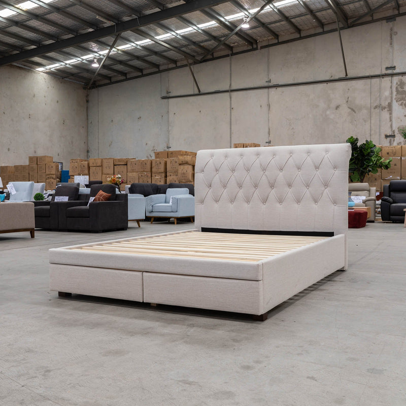 Riley King Storage Fabric Bed – Oat White - Warehouse Furniture Clearance