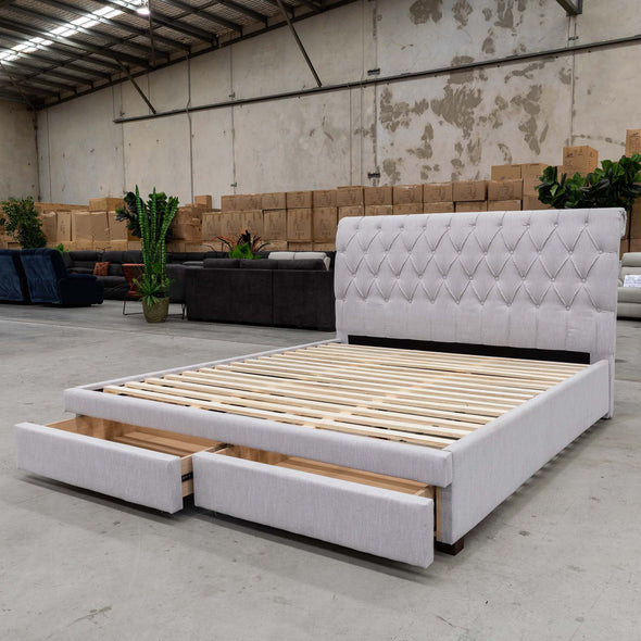 Riley Queen Storage Bed – Stone - Warehouse Furniture Clearance