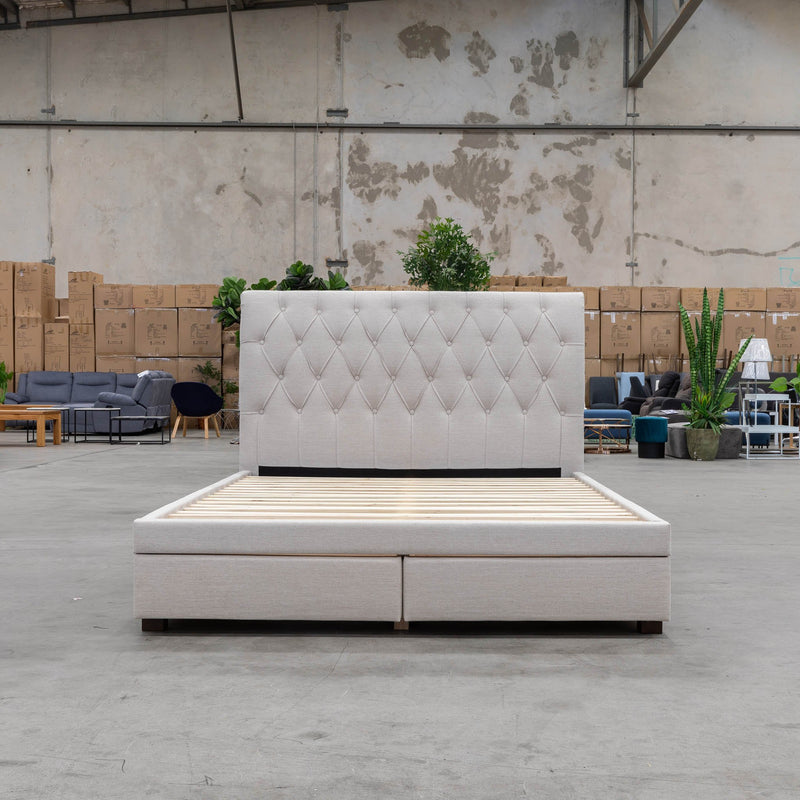 Riley Queen Storage Fabric Bed – Oat White - Warehouse Furniture Clearance