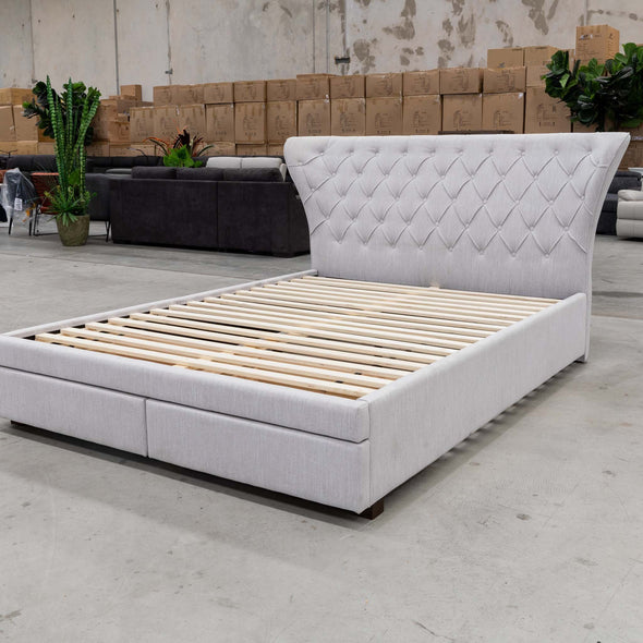Rose King Fabric Bed - Stone - Warehouse Furniture Clearance