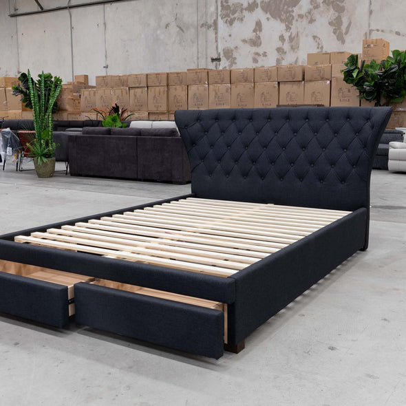 Rose Queen Fabric Bed - Charcoal - Warehouse Furniture Clearance