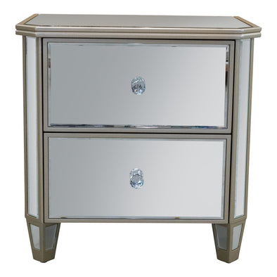 Rosie Mirrored Bedside - Warehouse Furniture Clearance
