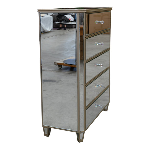 Rosie Mirrored Tallboy - Warehouse Furniture Clearance