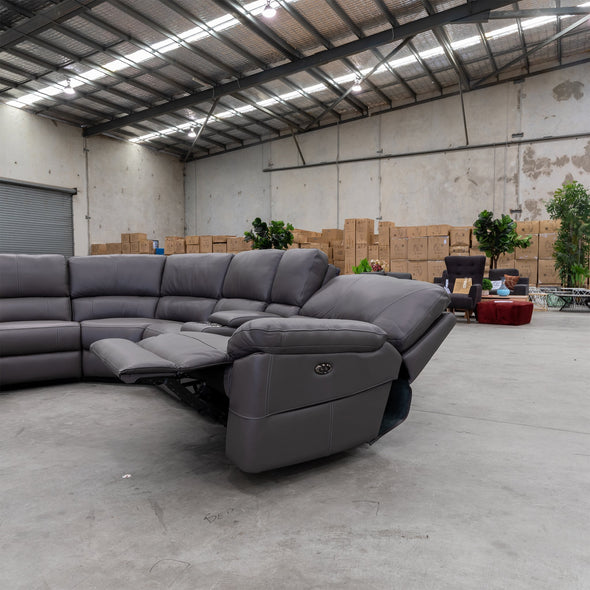 Sanctuary Electric Corner Lounge - Graphite Leather - Warehouse Furniture Clearance