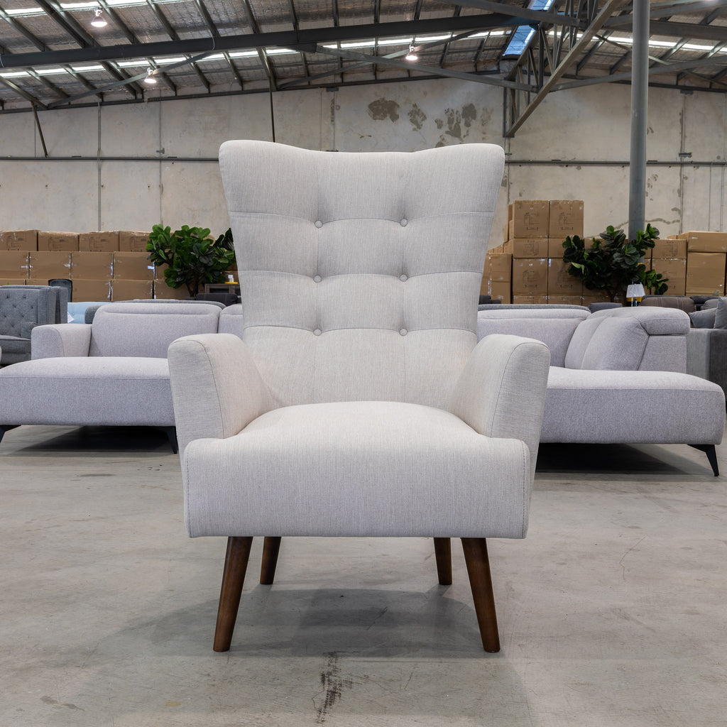 Picture of: Sebastian Accent Chair Oat White Warehouse Furniture Clearance