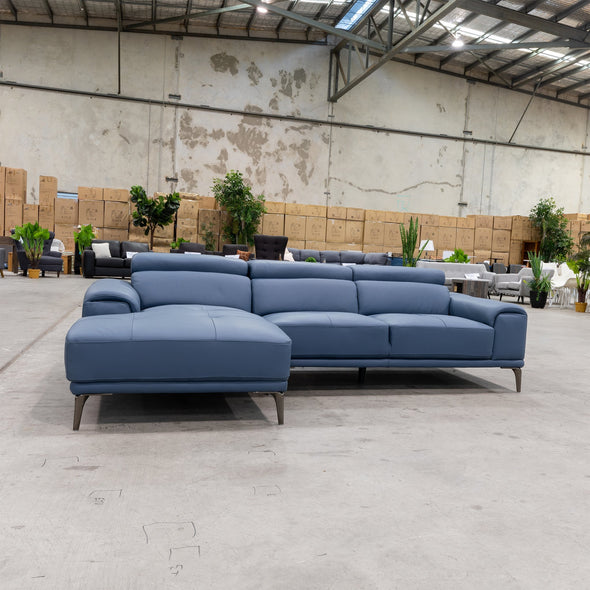 Sentosa LHF Chaise Lounge - Blue Leather - Warehouse Furniture Clearance