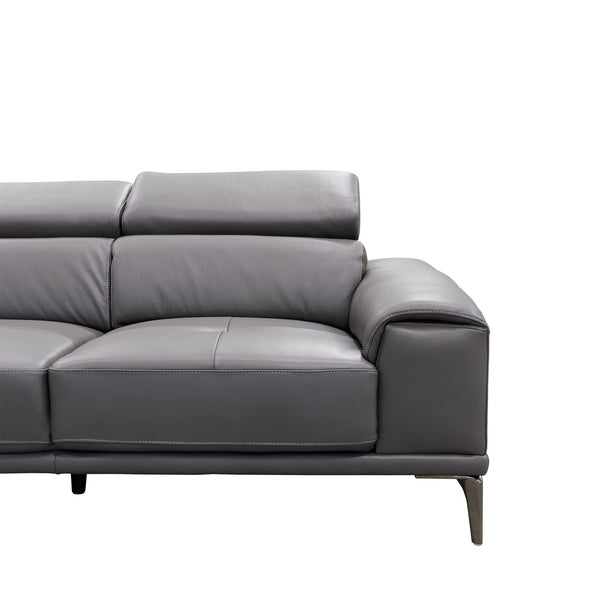 Sentosa LHF Chaise Lounge - Graphite Leather - Warehouse Furniture Clearance