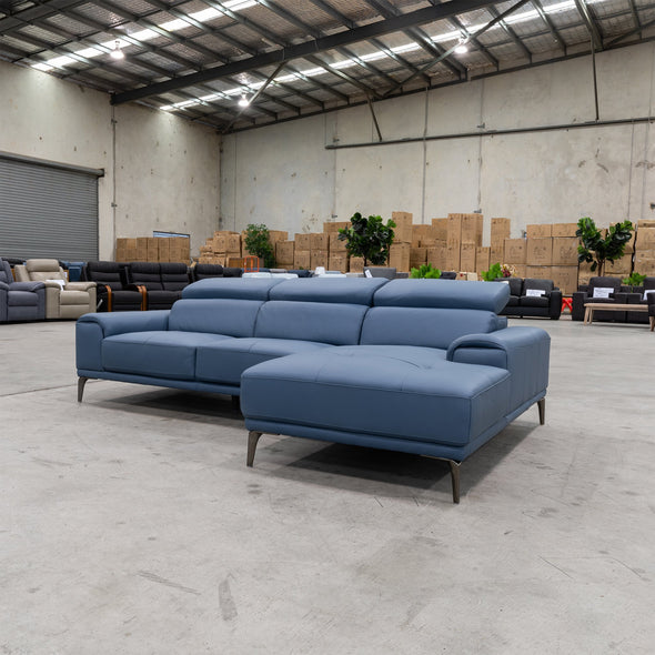 Sentosa RHF Chaise Lounge - Blue Leather - Warehouse Furniture Clearance