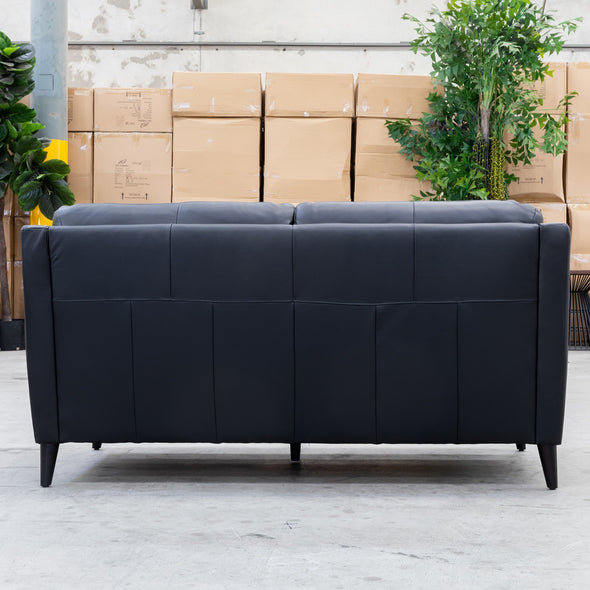 Syros Leather 2.5 Seater - Black - Warehouse Furniture Clearance