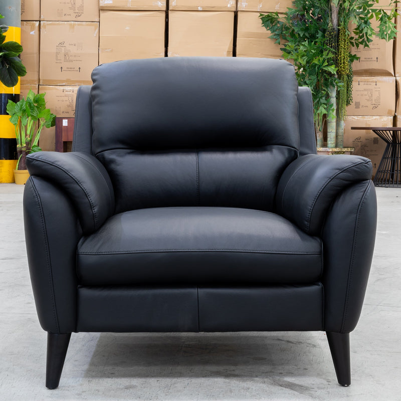 Syros Leather Armchair - Black - Warehouse Furniture Clearance
