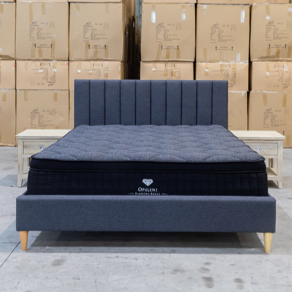 Tiffany Double Upholstered Bed - Mid Grey - Warehouse Furniture Clearance