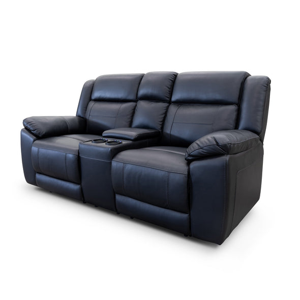 Venus 2 Seat Electric Recliner Theatre - Black Leather - Warehouse Furniture Clearance