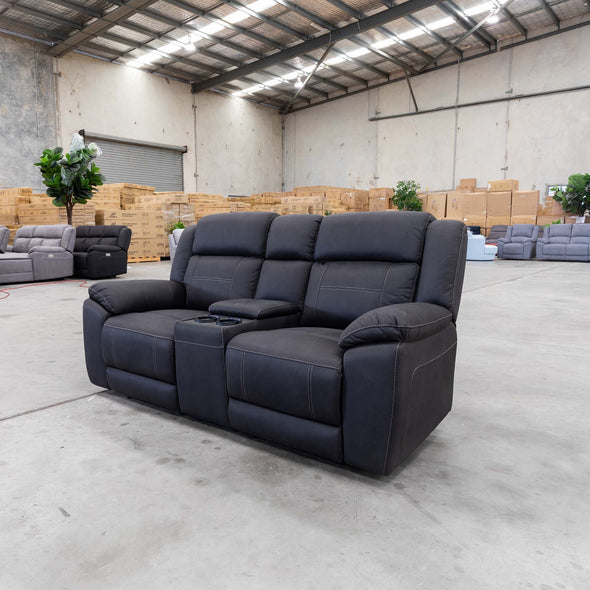 Venus 2 Seat Electric Recliner Theatre - Jet - Warehouse Furniture Clearance