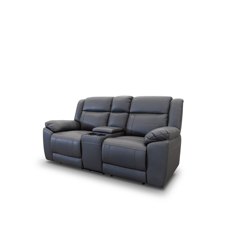 Venus Two Seat Electric Recliner Lounge - Storm Leather - Warehouse Furniture Clearance