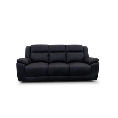 Venus Three Seater Electric Recliner Lounge - Jet - Warehouse Furniture Clearance