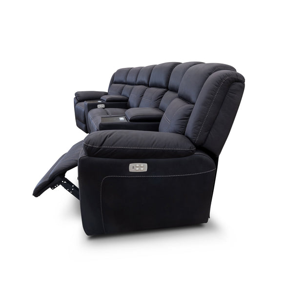 Venus 4 Seat Electric Recliner Theatre - Jet - Warehouse Furniture Clearance