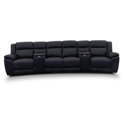 Venus Four Seat Electric Recliner Theatre - Jet - Warehouse Furniture Clearance